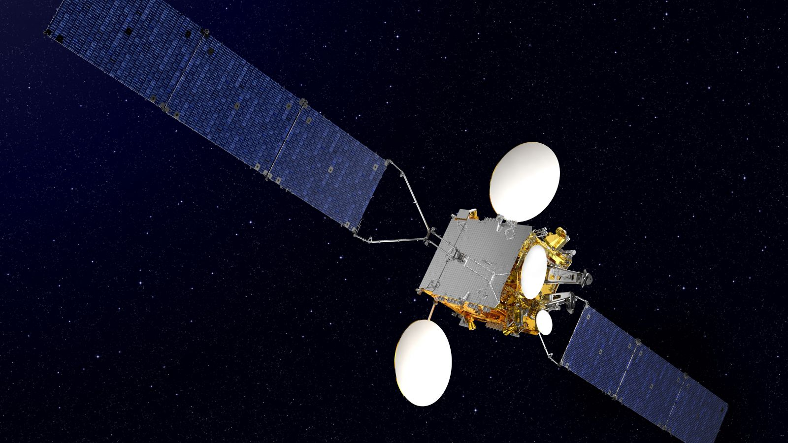 An artist's rendering of Koreasat 5A in orbit. Image Credit: Thales Alenia Space