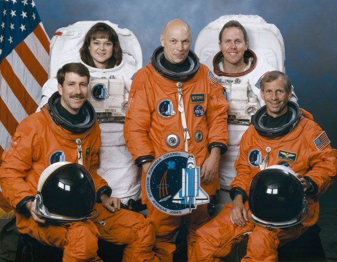 The crew of STS-80, seated (from left-to-right) Kent V. Rominger, pilot; Kenneth D. Cockrell, commander. Standing (left to right) mission specialists Tamara E. Jernigan, F. Story Musgrave, and Thomas D. Jones. Photo Credit: NASA