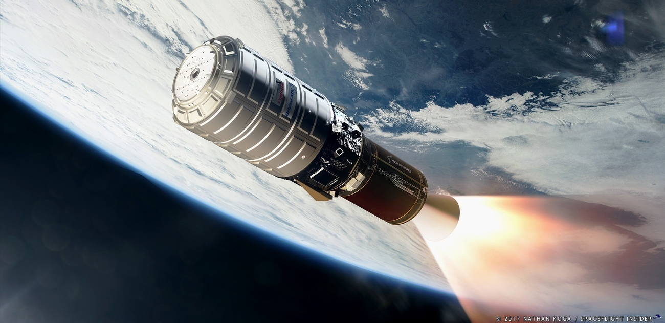 the OA-8 Cygnus spacecraft, S.S. Gene Cernan, entering low-Earth orbit atop an Antares 230 rocket's Castor 30 XL upper stage.