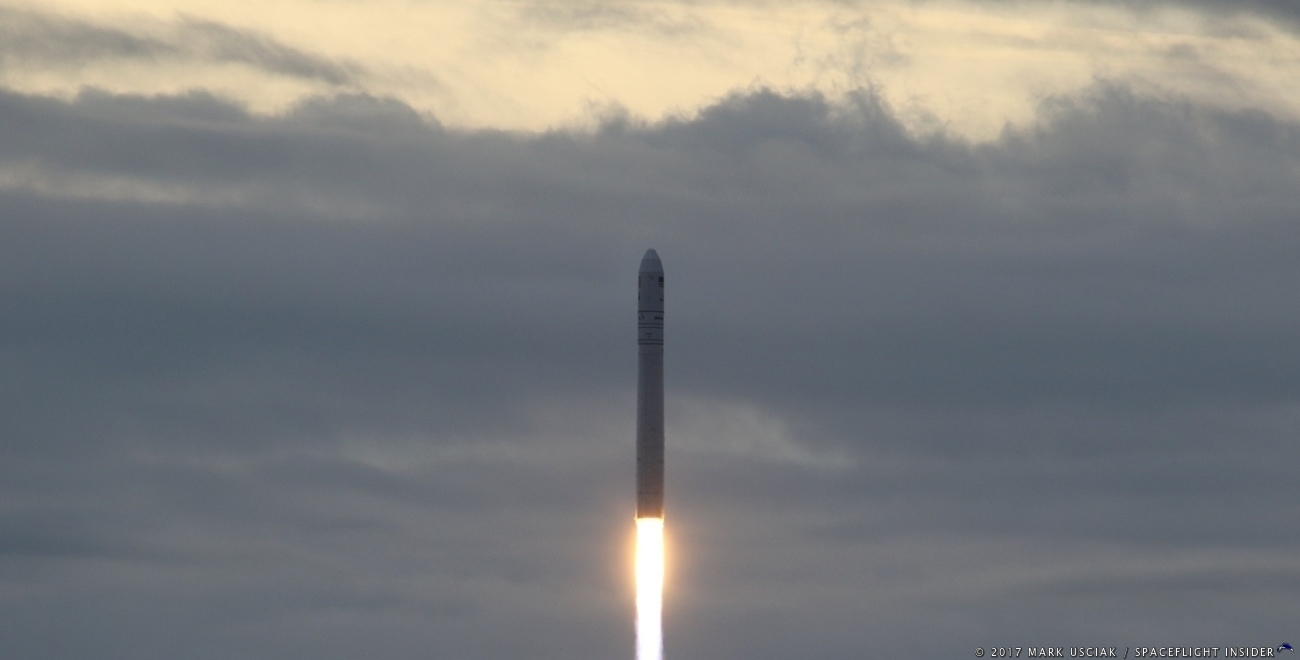 An Orbital ATK Antares 230 rocket with the S.S. Gene Cernan spacecraft lifts off from the Mid-Atlantic Regional Spaceport's Pad 0A at 7:19 a.m. (12:19 GMT) on Sunday, Nov. 12, 2017. The rocket lofted the S.S. Gene Cernan Cygnus spacecraft on its way to the International Space Station, starting the OA-8 mission. Photo Credit: Mark Usciak / SpaceFlight Insider