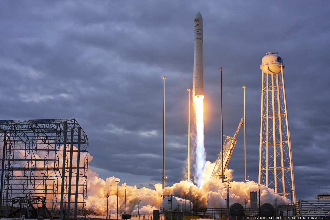 An Orbital ATK Antares 230 rocket with the S.S. Gene Cernan spacecraft lifts off from the Mid-Atlantic Regional Spaceport's Pad 0A at 7:19 a.m. (12:19 GMT) on Sunday, Nov. 12, 2017. The rocket lofted the S.S. Gene Cernan Cygnus spacecraft on its way to the International Space Station, starting the OA-8 mission. Photo Credit: Mike Deep / SpaceFlight Insider