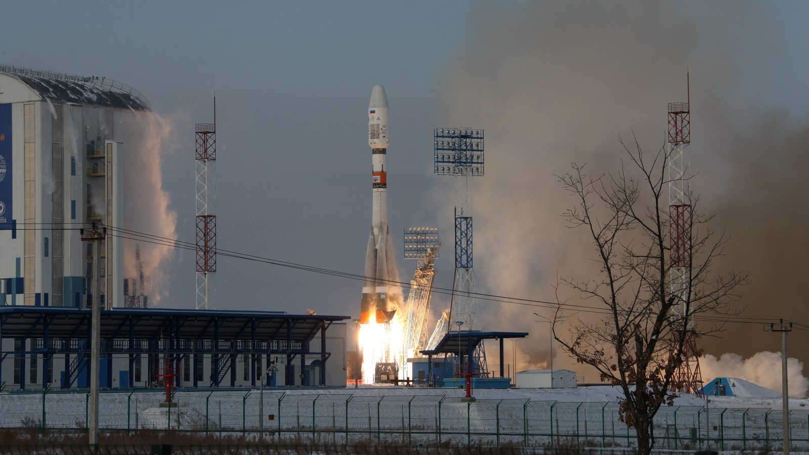 A Soyuz 2.1b launches with the Meteor-M 2-1 satellite and 18 secondary payloads. Liftoff took place from Vostochny Cosmodrome in Russia's Far East. However, contact with the upper stage was later lost. Photo Credit: Roscosmos