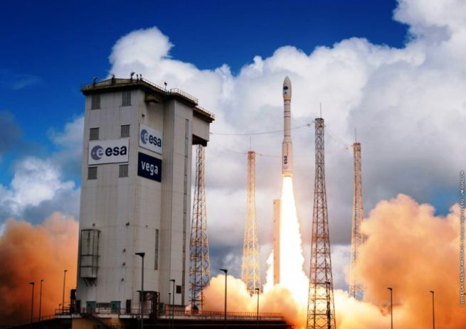Archive photo of an Arianespace Vega rocket launch at Kourou, French Guiana. Photo Credit Arianespace