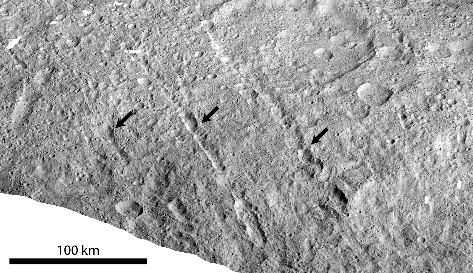 Pit chains on dwarf planet Ceres called Samhain Catenae