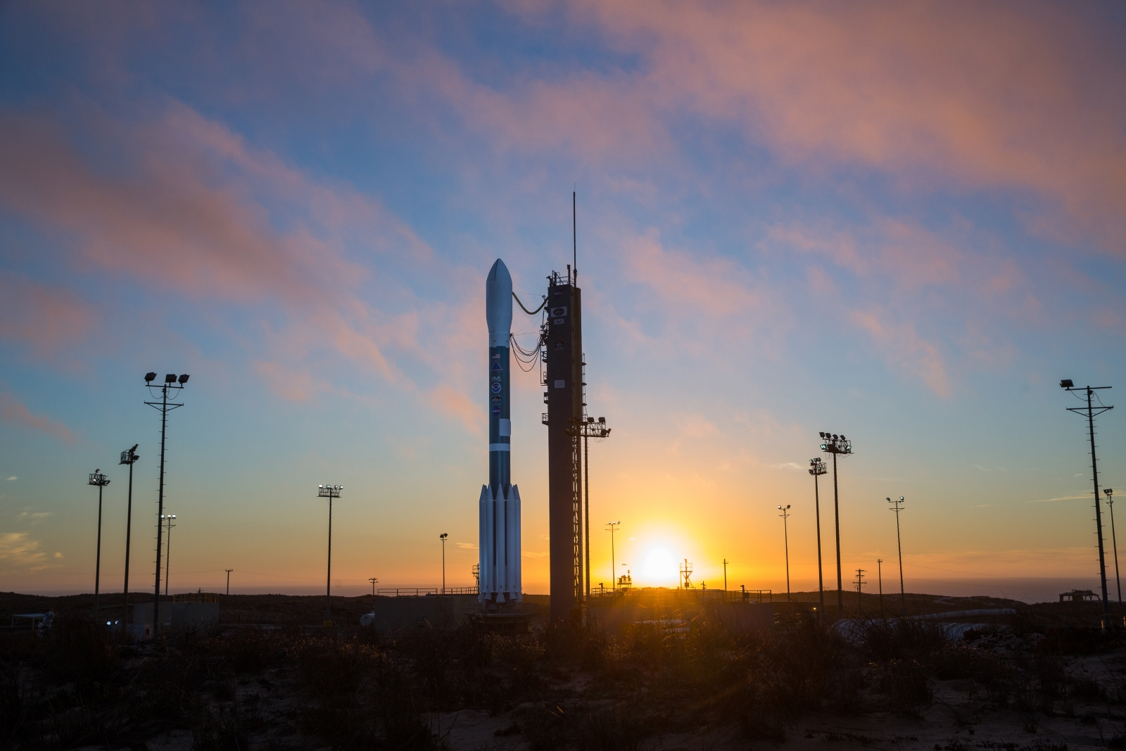 The Delta II with JPSS-1 on top awaits launch. Photo Credit: Walter Scriptunas II / ULA