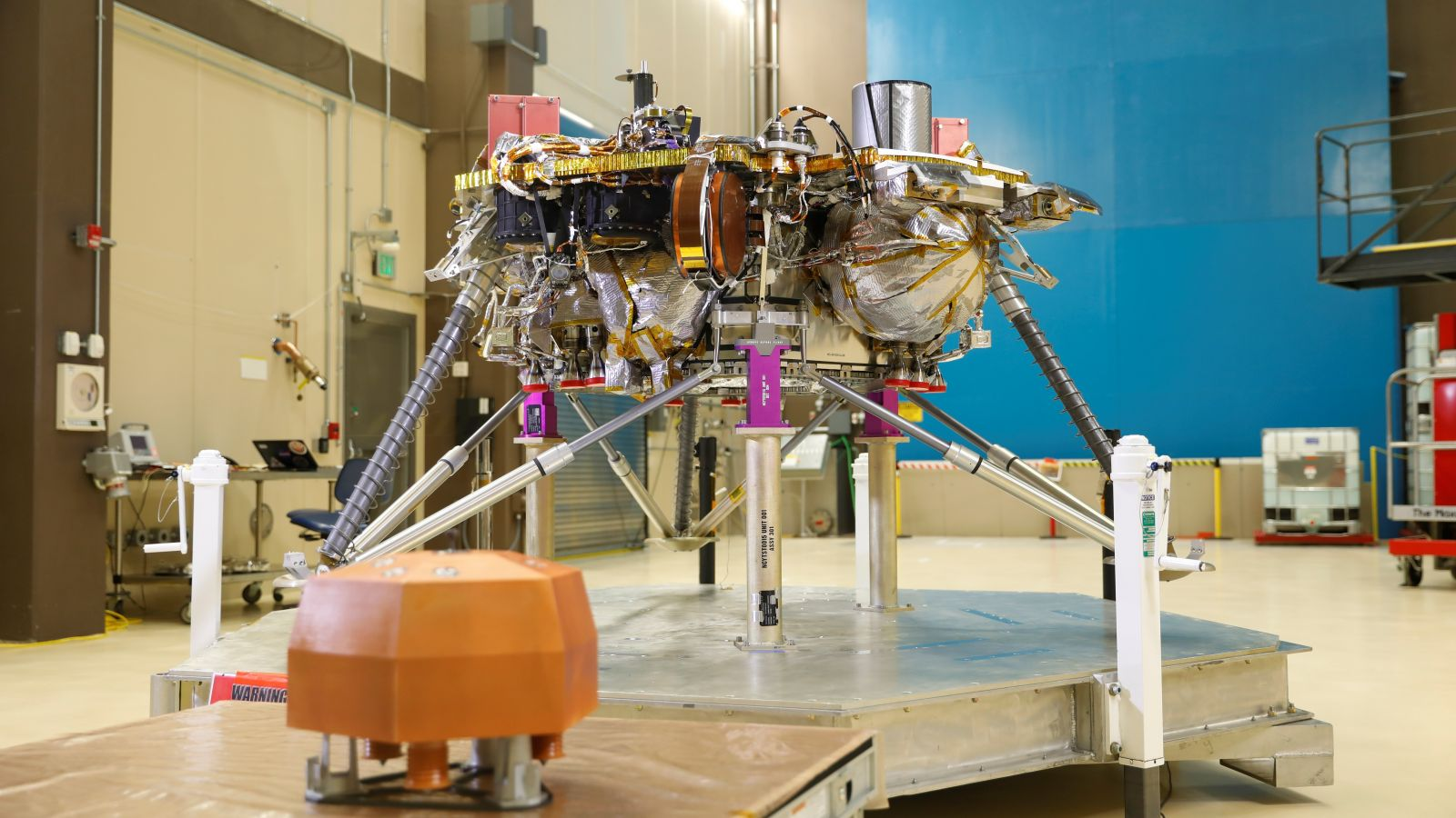 NASA's Insight lander finishes its thermal vacuum test at Lockheed Martin's facility in Littleton, Colorado. Photo Credit: Lockheed Martin.