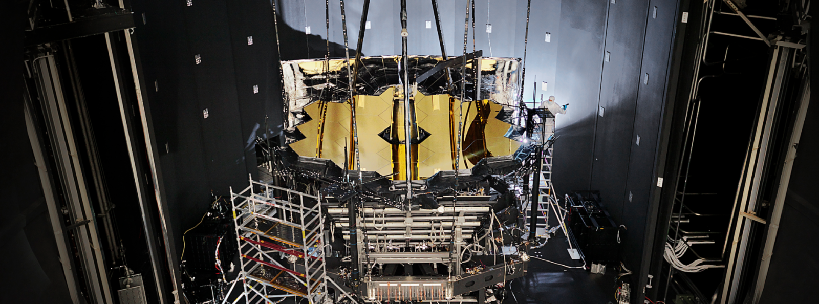 The James Webb Space Telescope underwent testing in space-like conditions at Johnson Space Center. Photo Credit: NASA