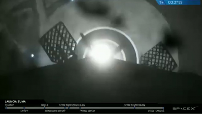 Landing of SpaceX Falcon 9 first stage during Zuma mission image credit SpaceX