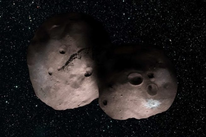 An artist's impression of what MU69 might look like. Image Credit: NASA/JHUAPL/SwRI/Alex Parker