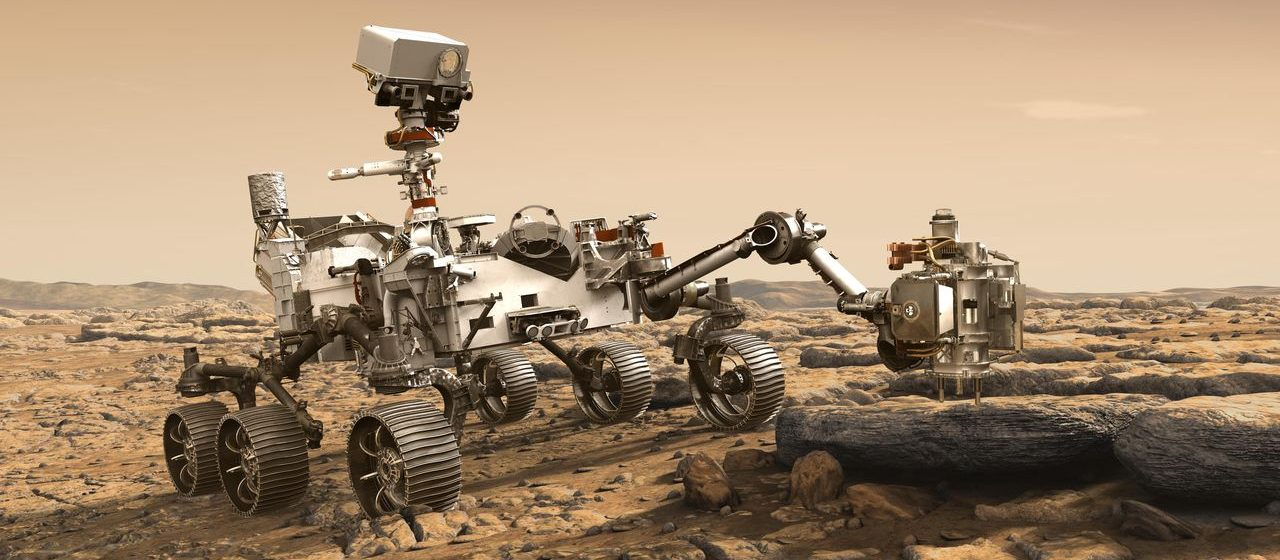 This artist's depiction shows the NASA Mars Exploration Vehicle 2020 that studies a macro rock out of the rock of Mars. The mission will not only search and study an area that has probably been habitable in the distant past, but will also take the next bold step in the robotic exploration of the red planet looking for signs of past microbial life. Image credit: NASA / JPL-Caltech
