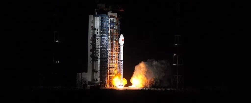 Long March 4C rocket lifts off from Taiyuan Satellite Launch Center (TSLC) with Fengyun 3D and Head-1 satellites.