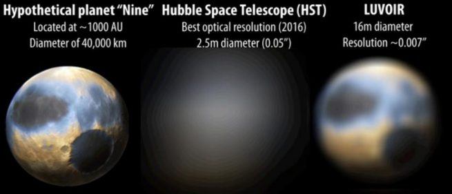Comparison of LUVIOR / HST observation of 'Planet Nine'