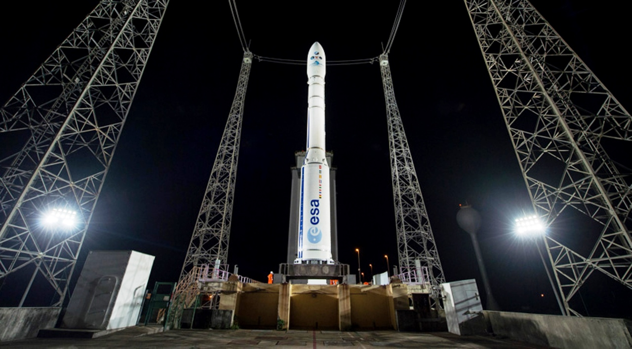 MOHAMMED VI–A mission. Arianespace Vega rocket at the launch site in Kourou, French Guiana. Photo Credit: European Space Agency