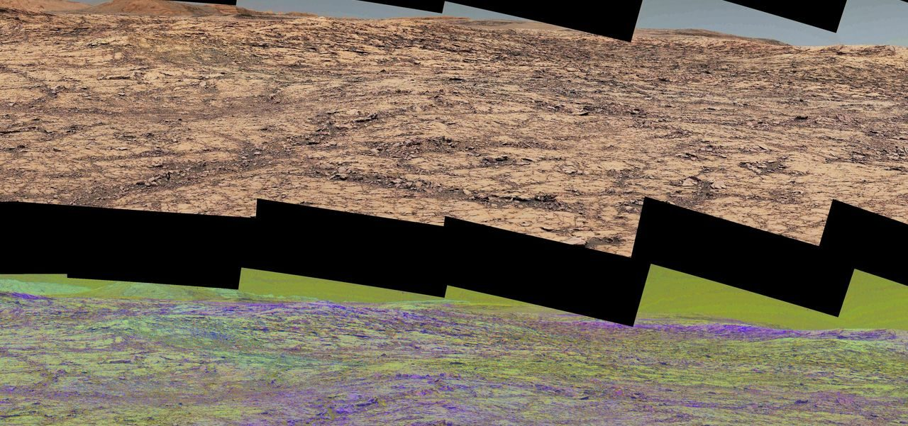 This pair of images from the Mast Camera (Mastcam) on NASA's Curiosity rover illustrates how special filters are used to scout terrain ahead for variations in the local bedrock. Image Credit: NASA/JPL-Caltech/MSSS/ASU
