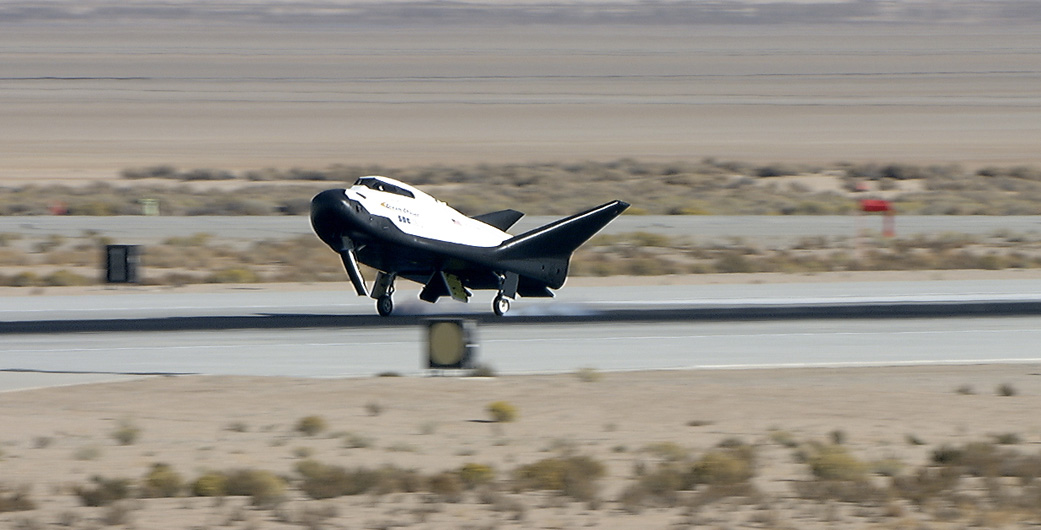 Sierra Nevada Corporation's Dream Chaser lands on a runway at Edwards Air Force Base in California after a successful free-flight test. Photo Credit: Carla Thomas / NASA