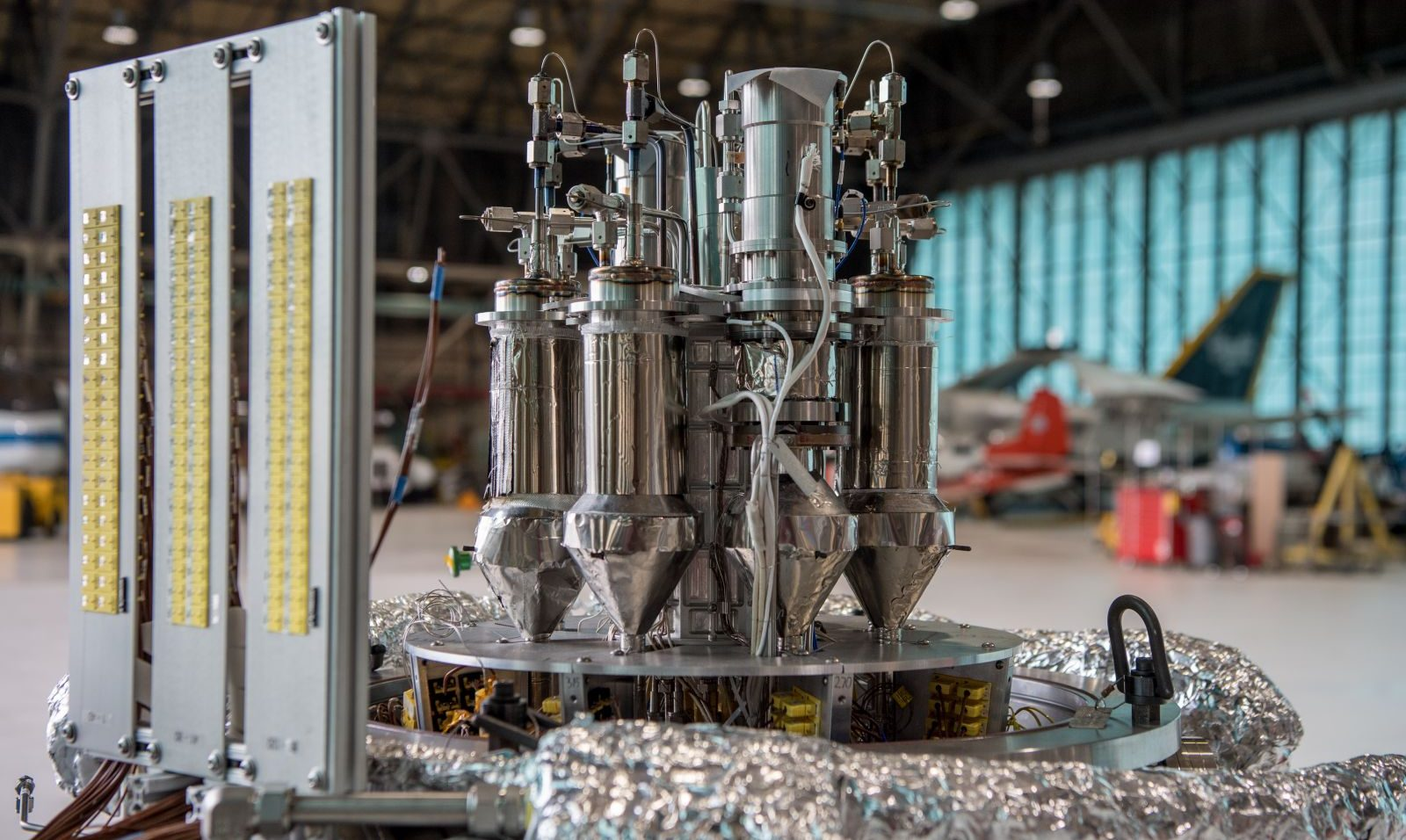 A demonstrator of a new kilopower reactor under development by NASA and the Department of Energy. Photo Credit: NASA Glenn Research Center