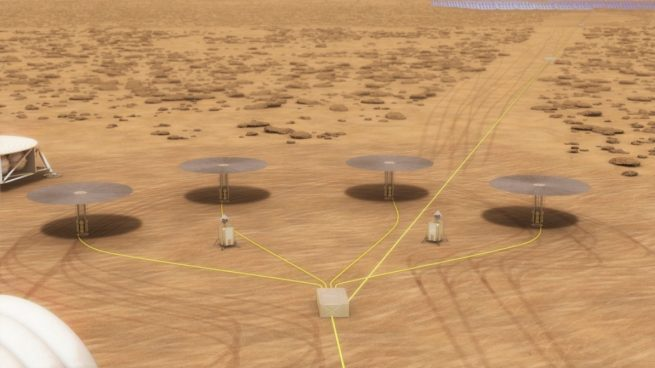An illustration of a series of Kilopower units deployed on the surface of Mars. Image Credit: NASA