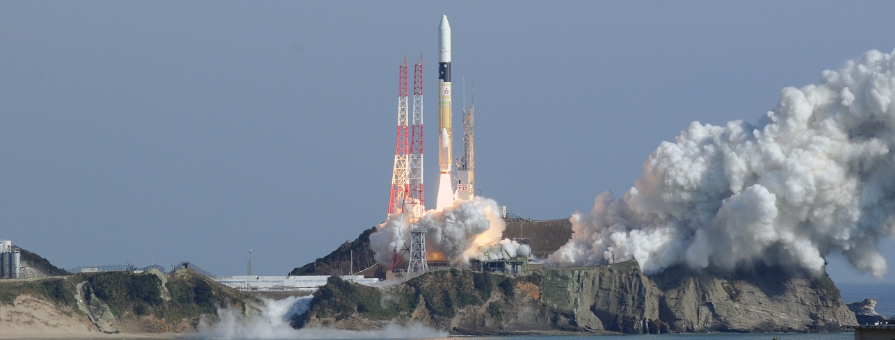 An HII-A rocket carrying GCOM-C1 and SLATS satellites launches from Tanegashima Space Center on December 23