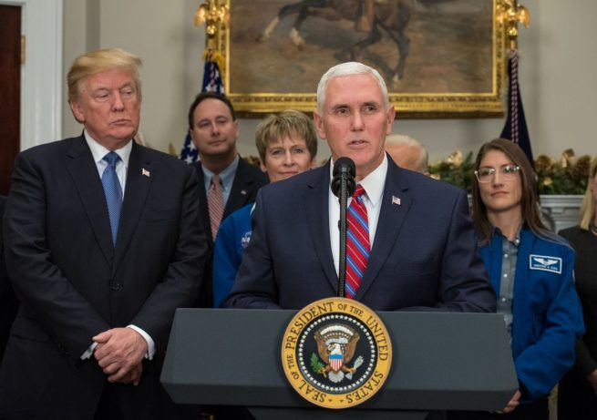 Vice President Mike Pence speaks before President Donald Trump signs Space Policy Directive 1. Photo Credit: Aubrey Gemignani / NASA