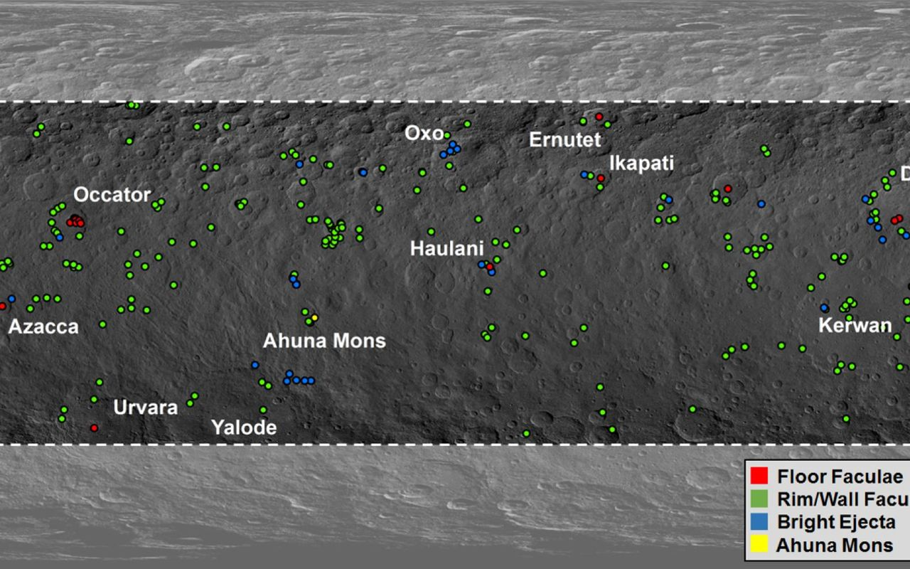 "This map from NASA's Dawn mission shows locations of bright material on dwarf planet Ceres. There are more than 300 bright areas, called ""faculae,"" on Ceres. Image Credit: NASA/JPL-Caltech/UCLA/MPS/DLR/IDA/PSI/Caltech"