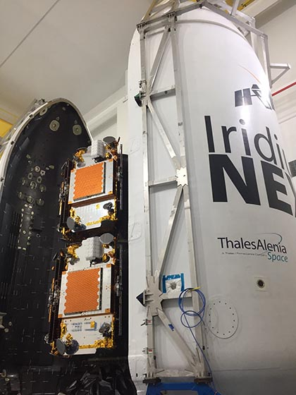 Iridium NEXT satellites prepped for launch. Photo Credit: Aireon