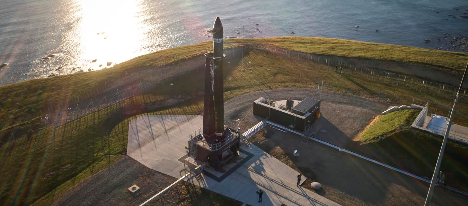 Rocket Lab's Electron rocket stands on the pad at the company's New Zealand launch facility. Photo credit: Rocket Lab
