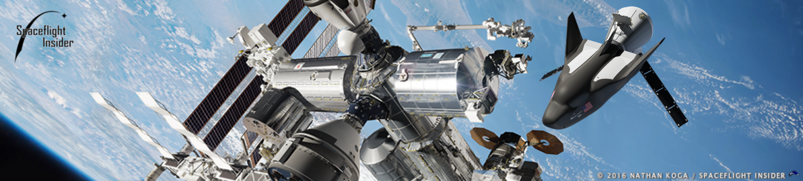 Sierra Nevada Dream Chaser spacecraft at the International Space Station
