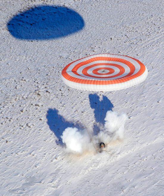 Soyuz MS-05 capsule returns to Earth