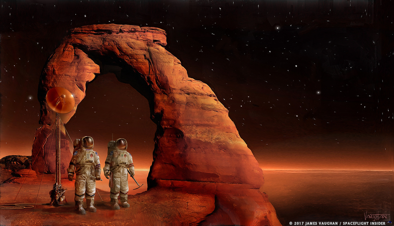 Astronauts on the surface of Mars. Image Credit: James Vaughan / SpaceFlight Insider