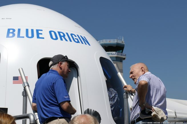 Retired NASA Flight Director and manager Gene Kranz smiles after touring the New Shepard spacecraft at the 2017 Osh Kosh Air Show. Photo Credit: Mark Usciak / SpaceFlight Insider