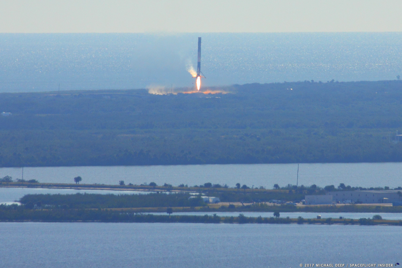This marked the eighth time Canaveral's Landing Zone 1 saw a Falcon 9 first stage conduct a safe landing. Photo Credit: Mike Deep / SpaceFlight Insider