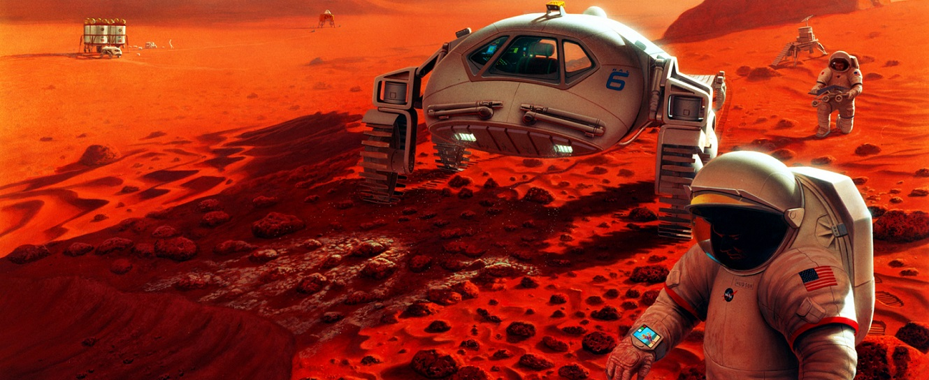Artist's concept of a manned mission to Mars.