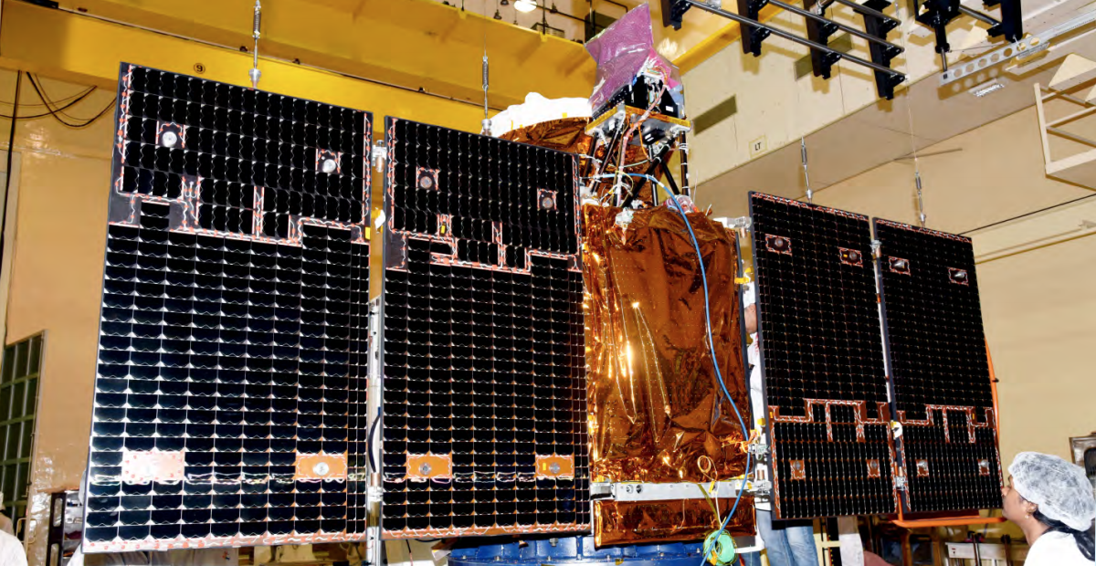 A Cartosat-2 satellite undergoing solar panel deployment test. Photo Credit: ISRO