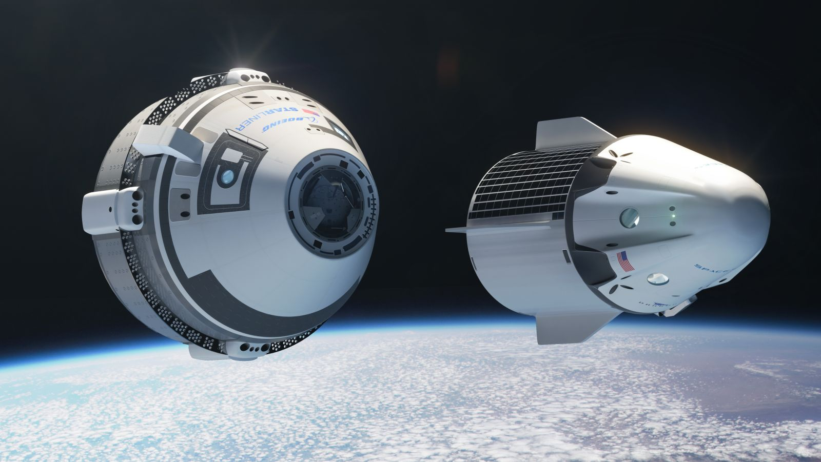 Boeing's CST-100 Starliner and SpaceX's Crew Dragon spacecraft. Image Credit: Nathan Koga / SpaceFlight Insider