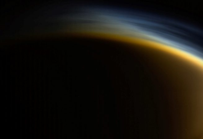 Hazy conditions dominate this image of Saturn's moon Titan captured by NASA's Cassini spacecraft. Photo Credit: NASA / JPL
