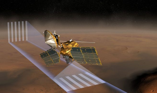 "As Mars Reconnaissance Orbiter flies about 300 kilometers (180 miles) above Mars' surface, it almost continuously scans the surface and edge of the atmosphere with the Mars Climate Sounder to build up a ""four-dimensional"" view of the temperature, pressure, and composition of the bottom 80 kilometers (50 miles) of Mars' atmosphere over the course of one Martian year. Image Credit: NASA/JPL-Caltech"