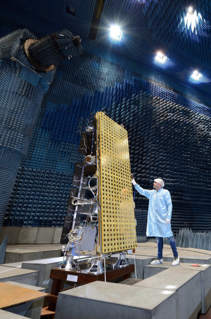 Engineers prep the NovSAR-S satellite for testing. Photo credit: Airbus Defense and Space