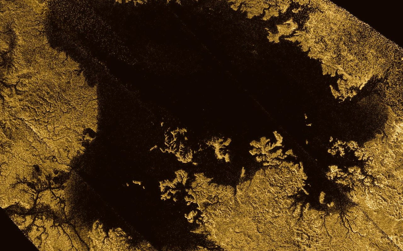 Ligeia Mare, shown here in data obtained by NASA's Cassini spacecraft, is the second largest known body of liquid on Saturn's moon , Titan. It is full of liquid hydrocarbons, such as ethane and methane, and is one of the many seas and lakes found in the North Pole region of Titan. Image credit: NASA / JPL-Caltech / ASI / Cornell