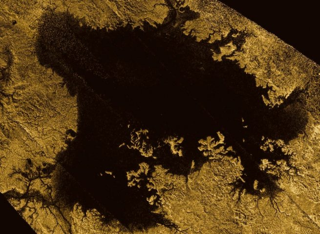Ligeia Mare, shown in here in data obtained by NASA's Cassini spacecraft, is the second largest known body of liquid on Saturn's moon Titan. It is filled with liquid hydrocarbons, such as ethane and methane, and is one of the many seas and lakes that bejewel Titan's north polar region. Image Credit: NASA/JPL-Caltech/ASI/Cornell
