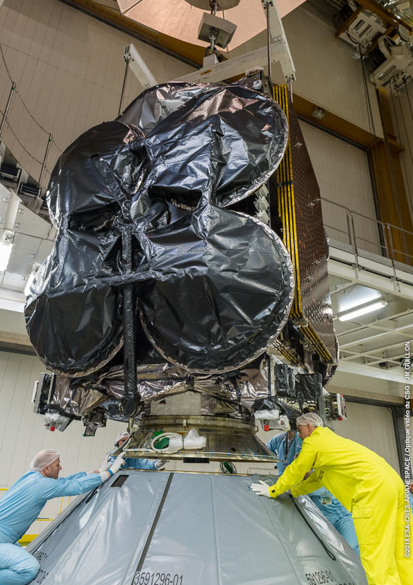Al Yah 3 is installed on the Ariane 5. Photo Credit: Arianespace.