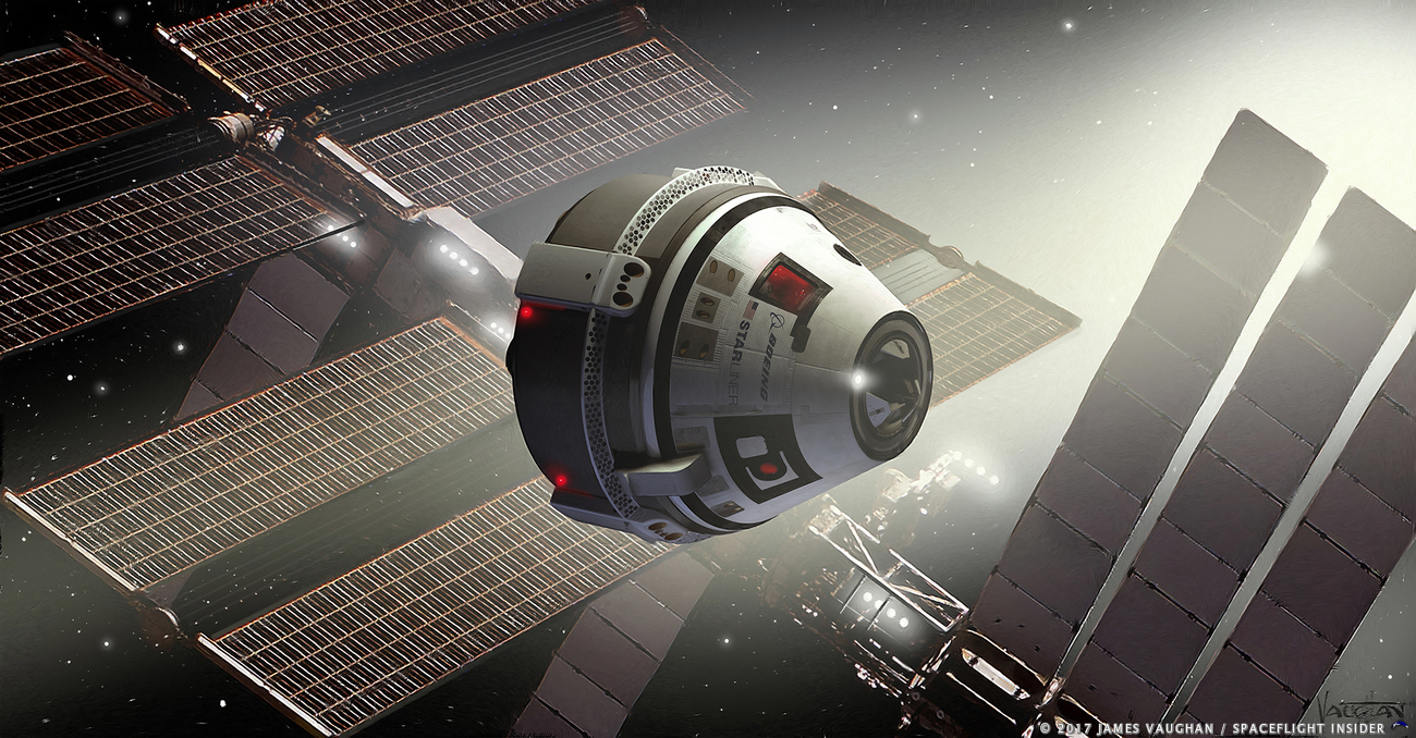An artist's depiction of a Boeing CST-100 Starliner spacecraft in the vicinity of the International Space Station. Image Credit: James Vaughan / SpaceFlight Insider