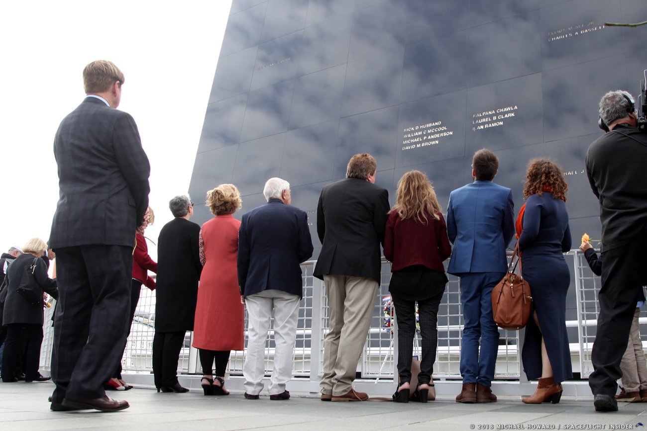 NASA officials and family members gathered to pay their respects at the Space Mirror Memorial at the Kennedy Space Center Visitor Complex during the 2018 Day of Remembrance. Photo Credit: Mike Howard / SpaceFlight Insider
