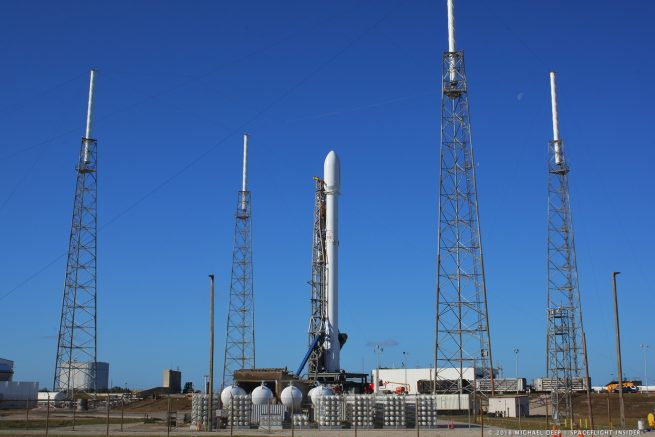 SpaceX Falcon 9 rocket at Cape Canaveral Air Force Station Space Launch Complex 40 photo credit Mike Deep SpaceFlight Insider