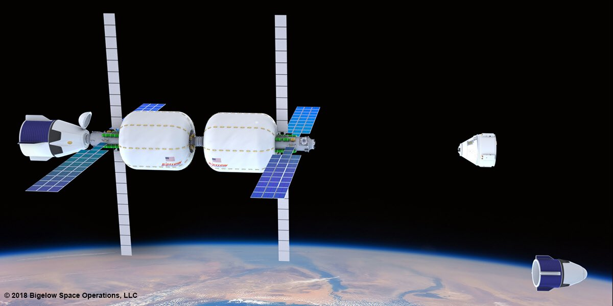 An artists rendering of Alpha Station, a two-module facility consisting of two B330 modules designed and built by Bigelow Aerospace, and marketed and operated by Bigelow Space Operations. Image Credit: Bigelow Space Operations