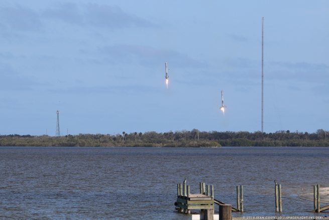 The two side core boosters returned to Landing Zone 1 and 2 at Cape Canaveral Air Force Station. Photo Credit: Sean Costello / SpaceFlight Insider