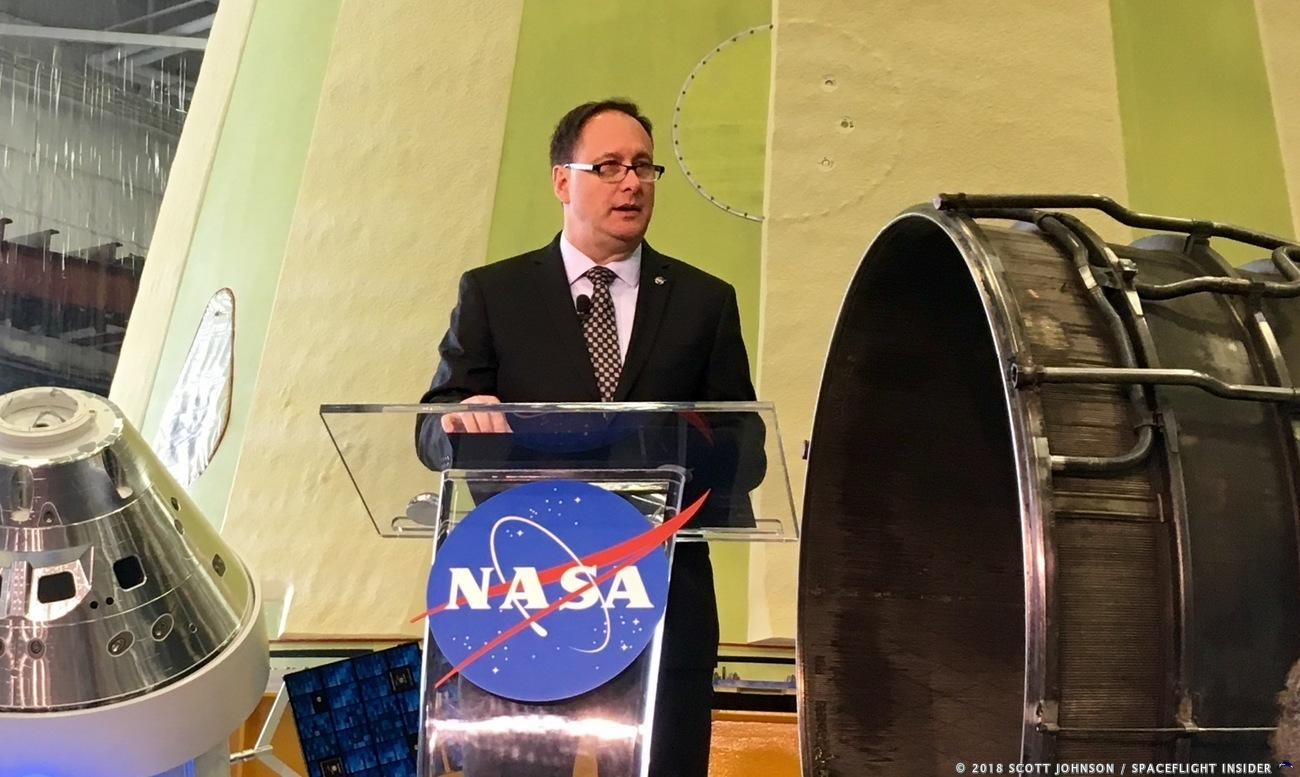 NASA's Acting Administrator, Robert Lightfoot, speaks on the agency's proposed 2019 fiscal year budget at the Marshall Space Flight Center on February 12, 2018. Image Credit: Scott Johnson / SpaceFlight Insider