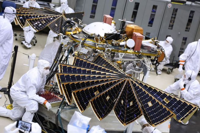 InSight undergoes a solar panel deployment test in early 2018. Photo Credit: NASA