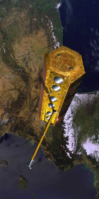 Artist's rendering of the PAZ radar-imaging satellite in orbit. Image Credit: Airbus