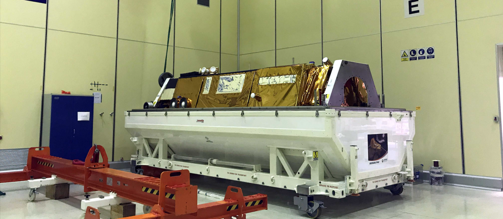 Spain's PAZ radar-imaging satellite being prepared for shipment to Vandenberg Air Force Base. Photo Credit: Airbus