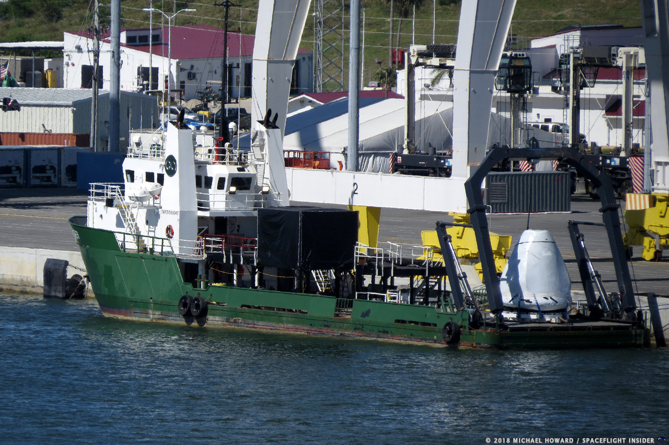 SpaceX Dragon recovery vehicle at Port Canaveral. Photo Credit Mike Howard SpaceFlight Insider